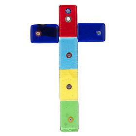 Croce in vetro di Murano multicolor e murrina s1