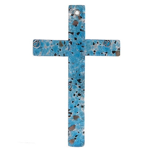 Crucifix verre Murano et feuilles argent 1