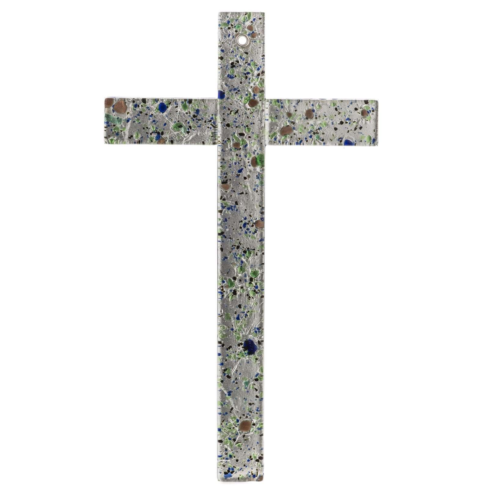 Cruz en vidrio de Murano con hoja plata arlequín 4