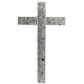 Cruz en vidrio de Murano con hoja plata arlequín s1