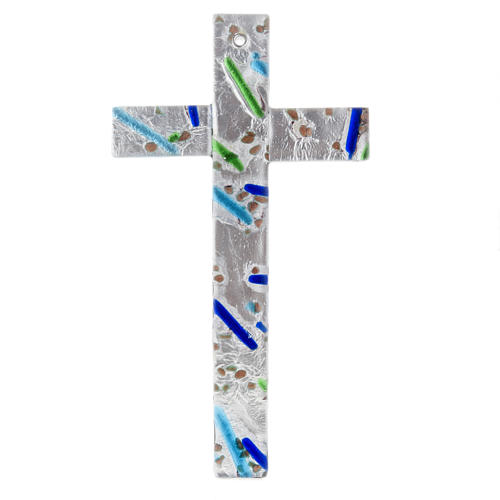 Cruz en vidrio de Murano con hoja plata arlequín 2