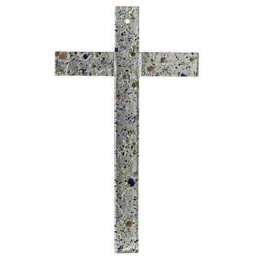 Cruz en vidrio de Murano con hoja plata arlequín 1