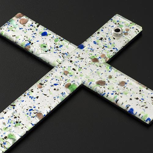 Cruz en vidrio de Murano con hoja plata arlequín 6