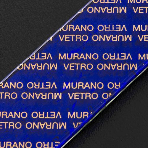 Cruz en vidrio de Murano con hoja plata arlequín 7