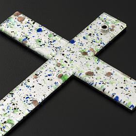Croce in vetro di Murano con foglia argento arlecchino s6