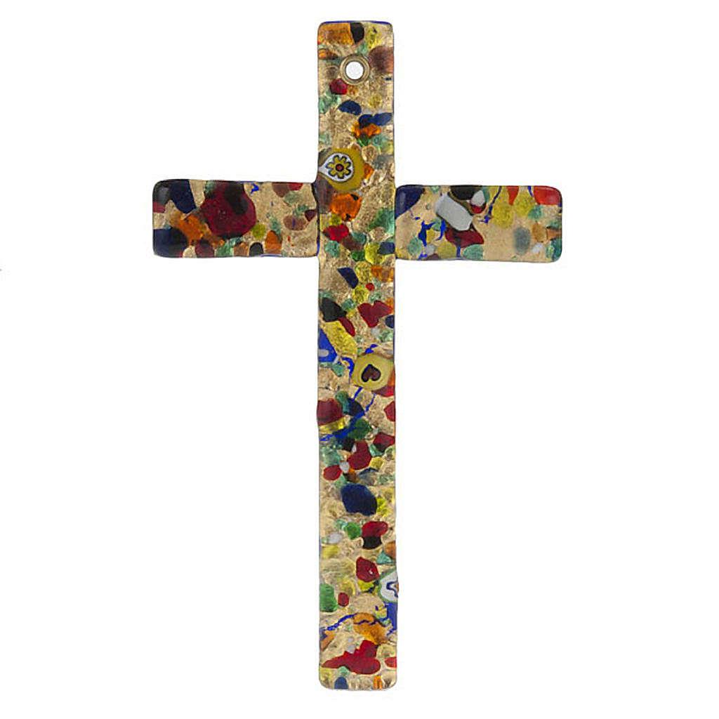 Cruz en vidrio de Murano hoja oro 4