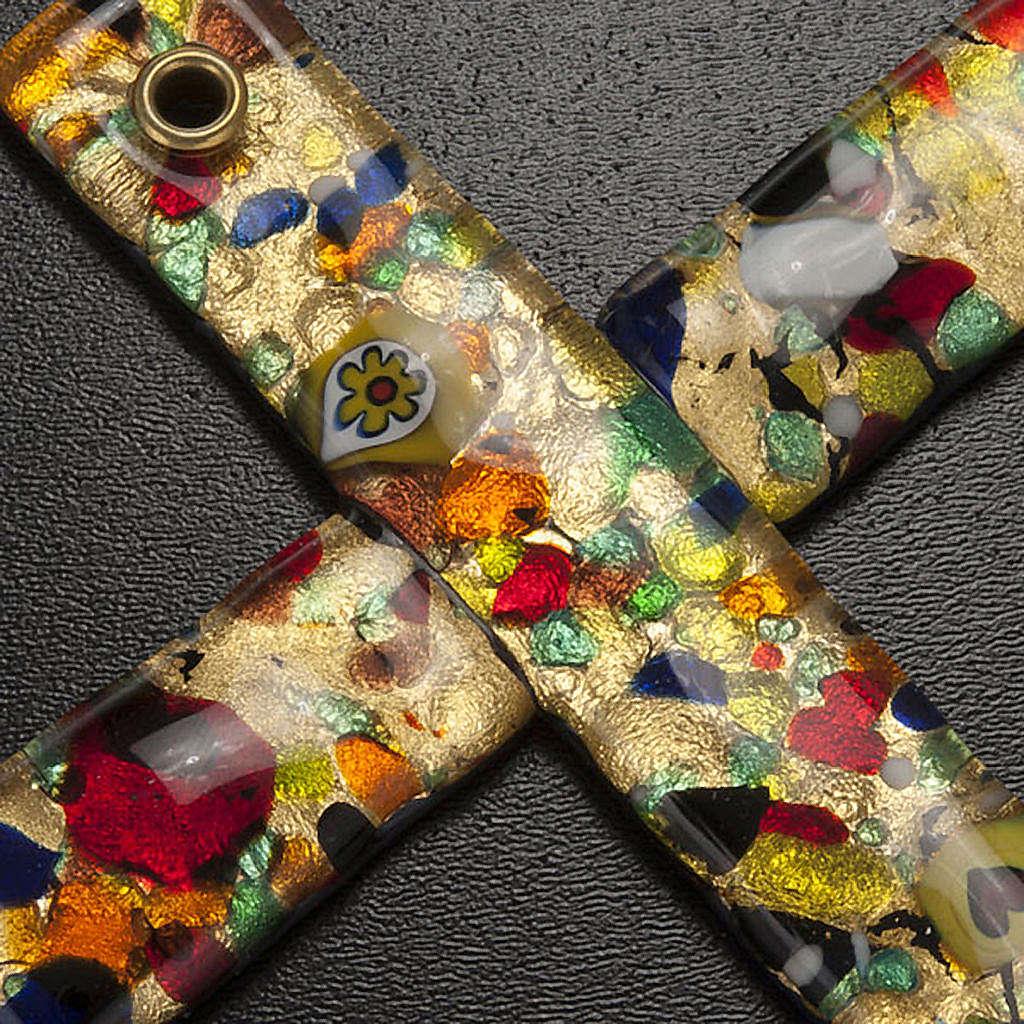 Croce in vetro di Murano foglia oro 4