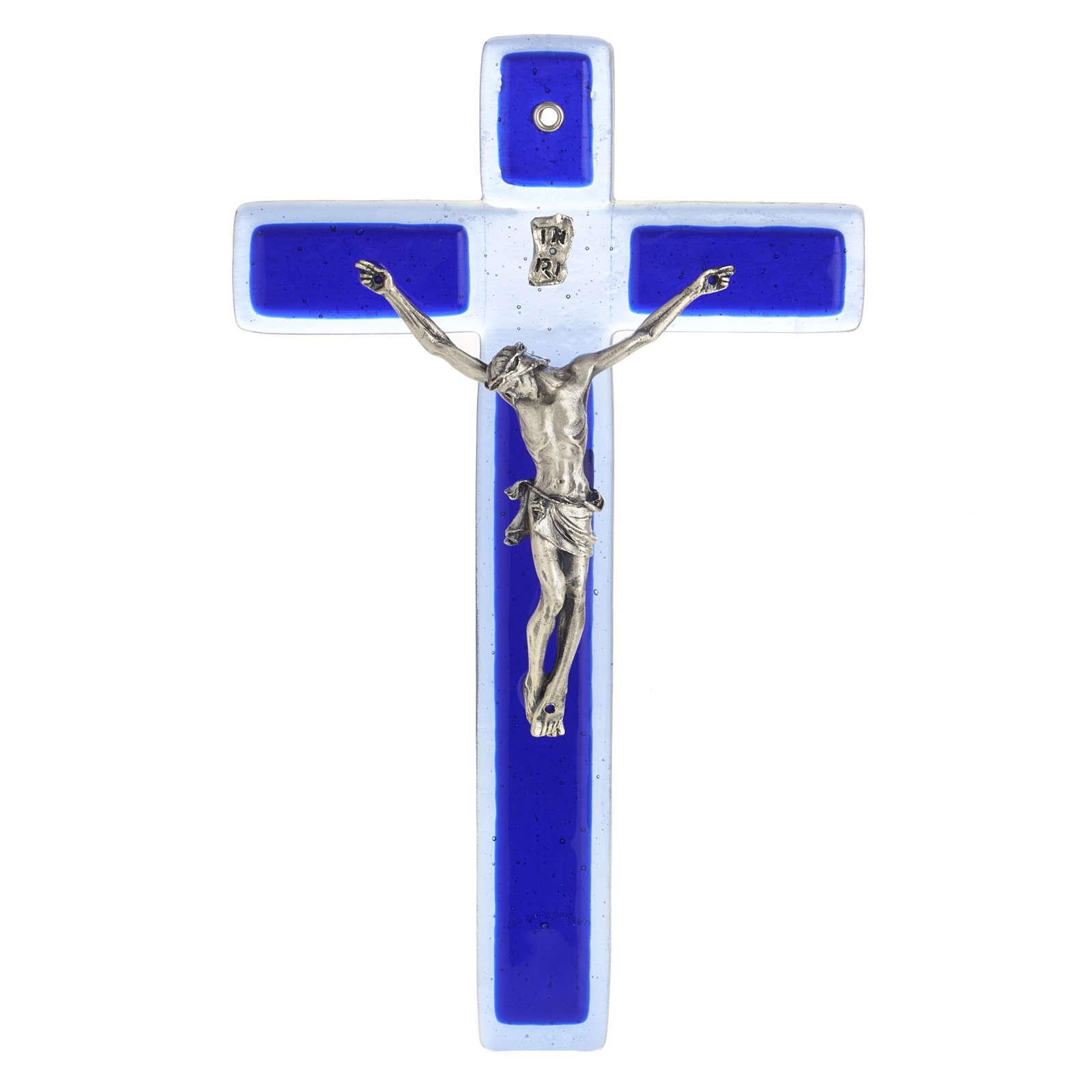 Crucifijo vidrio Murano azul cuerpo plateado 4