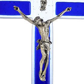 Crucifijo vidrio Murano azul cuerpo plateado s2