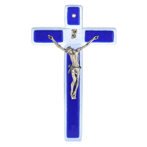 Crucifijo vidrio Murano azul cuerpo plateado 1