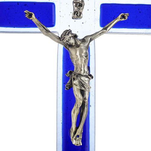 Crucifijo vidrio Murano azul cuerpo plateado 2