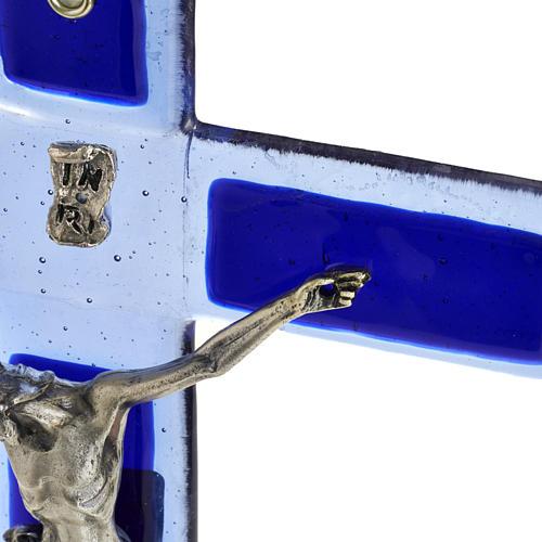 Crucifijo vidrio Murano azul cuerpo plateado 3