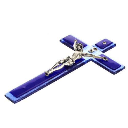Crucifijo vidrio Murano azul cuerpo plateado 5