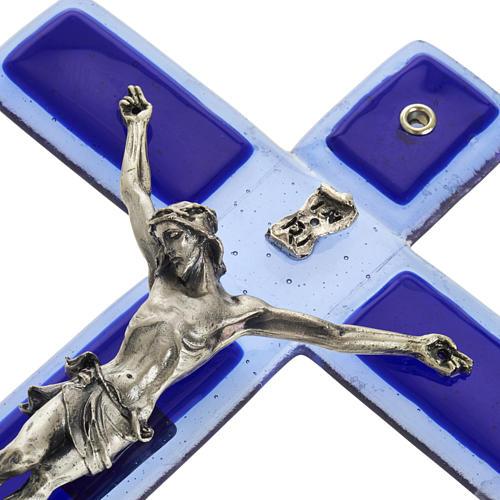 Crucifijo vidrio Murano azul cuerpo plateado 6