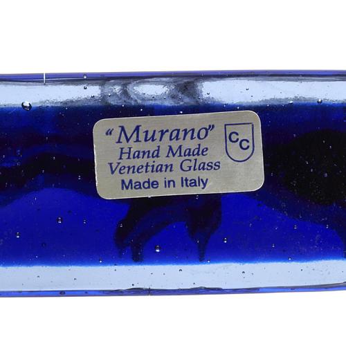 Crucifijo vidrio Murano azul cuerpo plateado 7