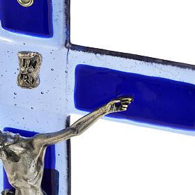 Crocefisso vetro Murano blu corpo argentato s3