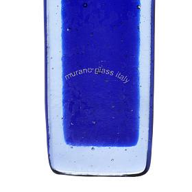 Crocefisso vetro Murano blu corpo argentato s4