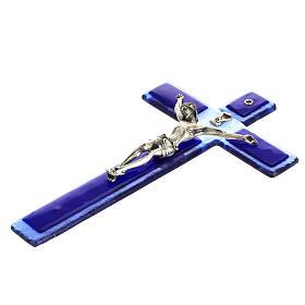 Crocefisso vetro Murano blu corpo argentato s5