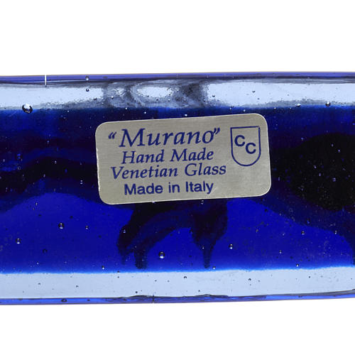 Crucifix in blue Murano glass with silver body 7