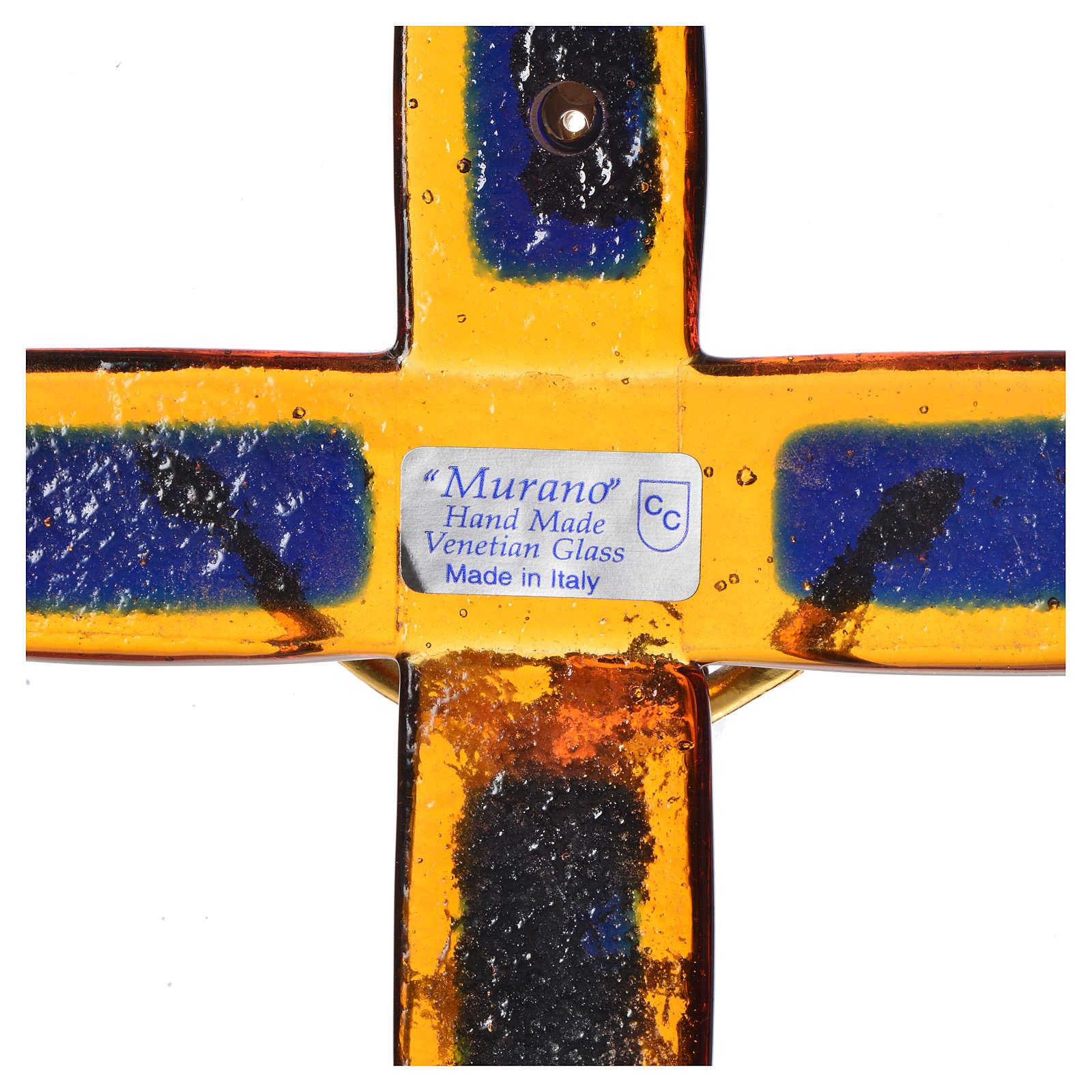 Crucifix verre topaze Corps doré 4