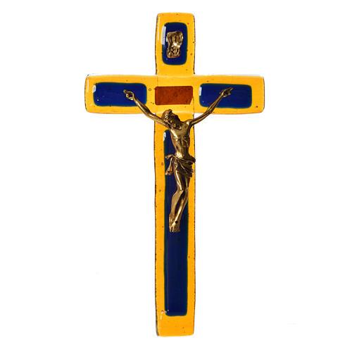 Crucifix verre topaze Corps doré 1