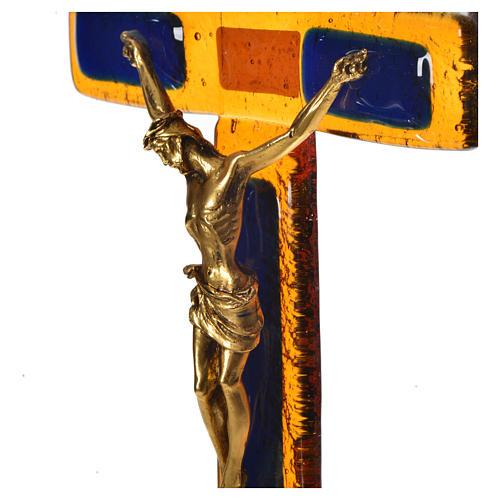 Crucifix verre topaze Corps doré 2