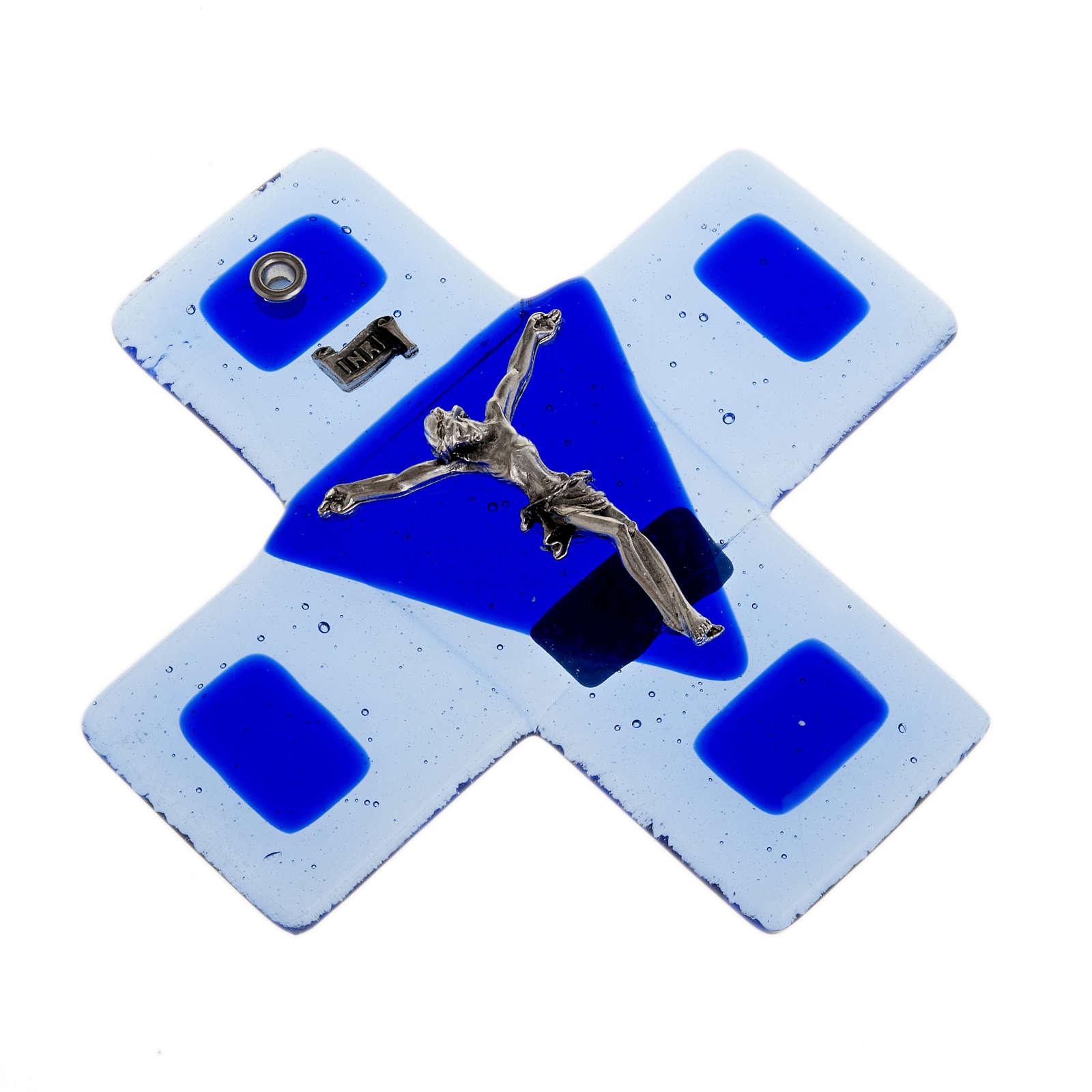 Crucifijo vidrio azul 12 x 12 cm 4