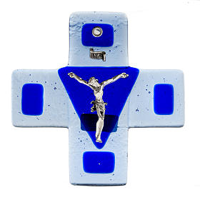 Crucifijo vidrio azul 12 x 12 cm s1