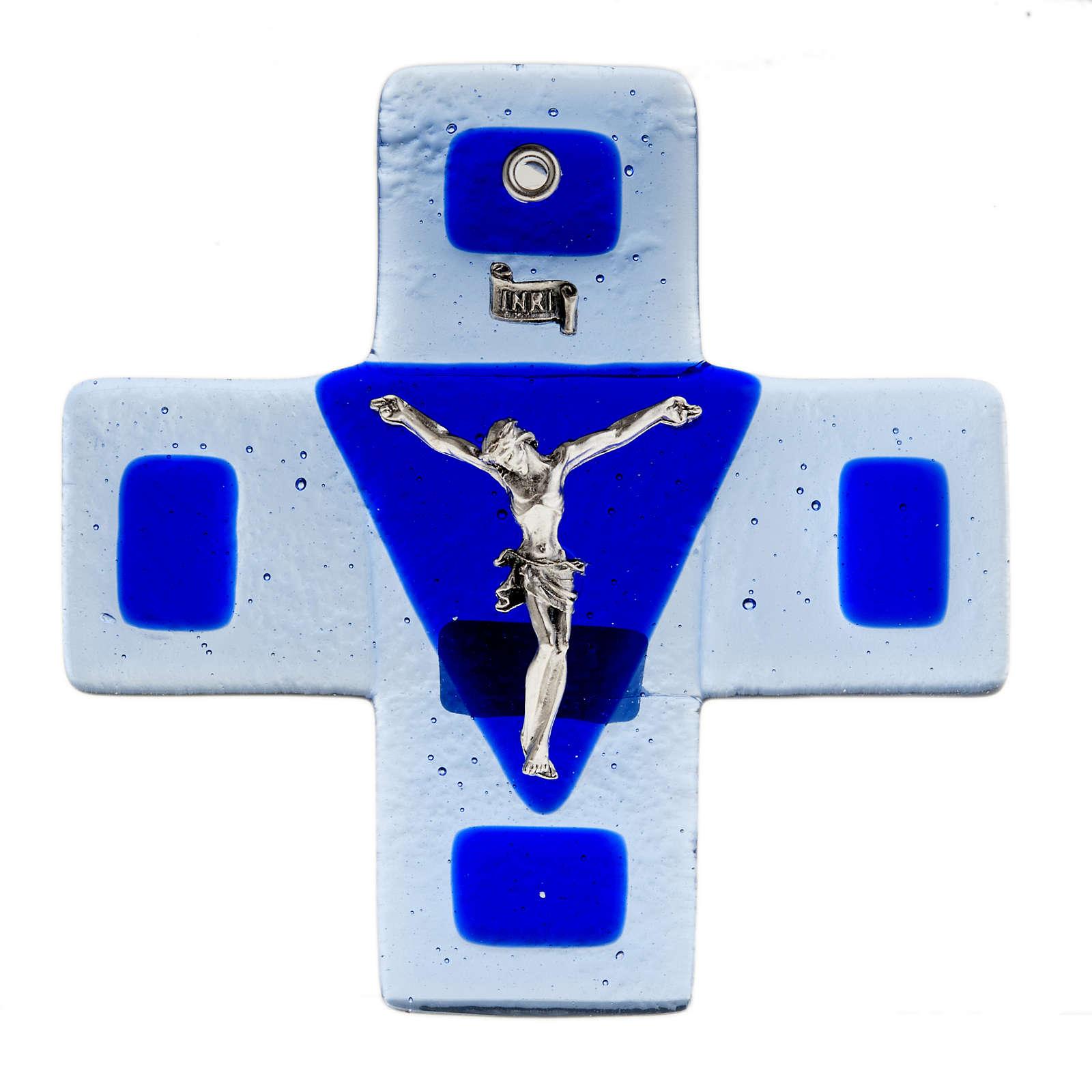 Crucifix verre bleu 12x12 cm 4