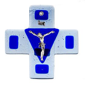 Crucifix verre bleu 12x12 cm s1