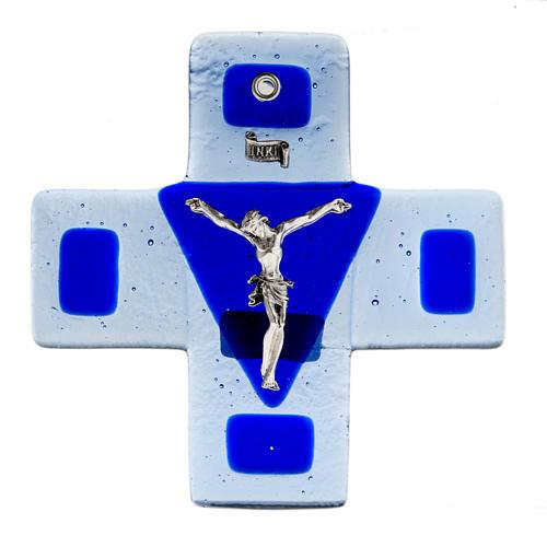 Crucifix verre bleu 12x12 cm 1