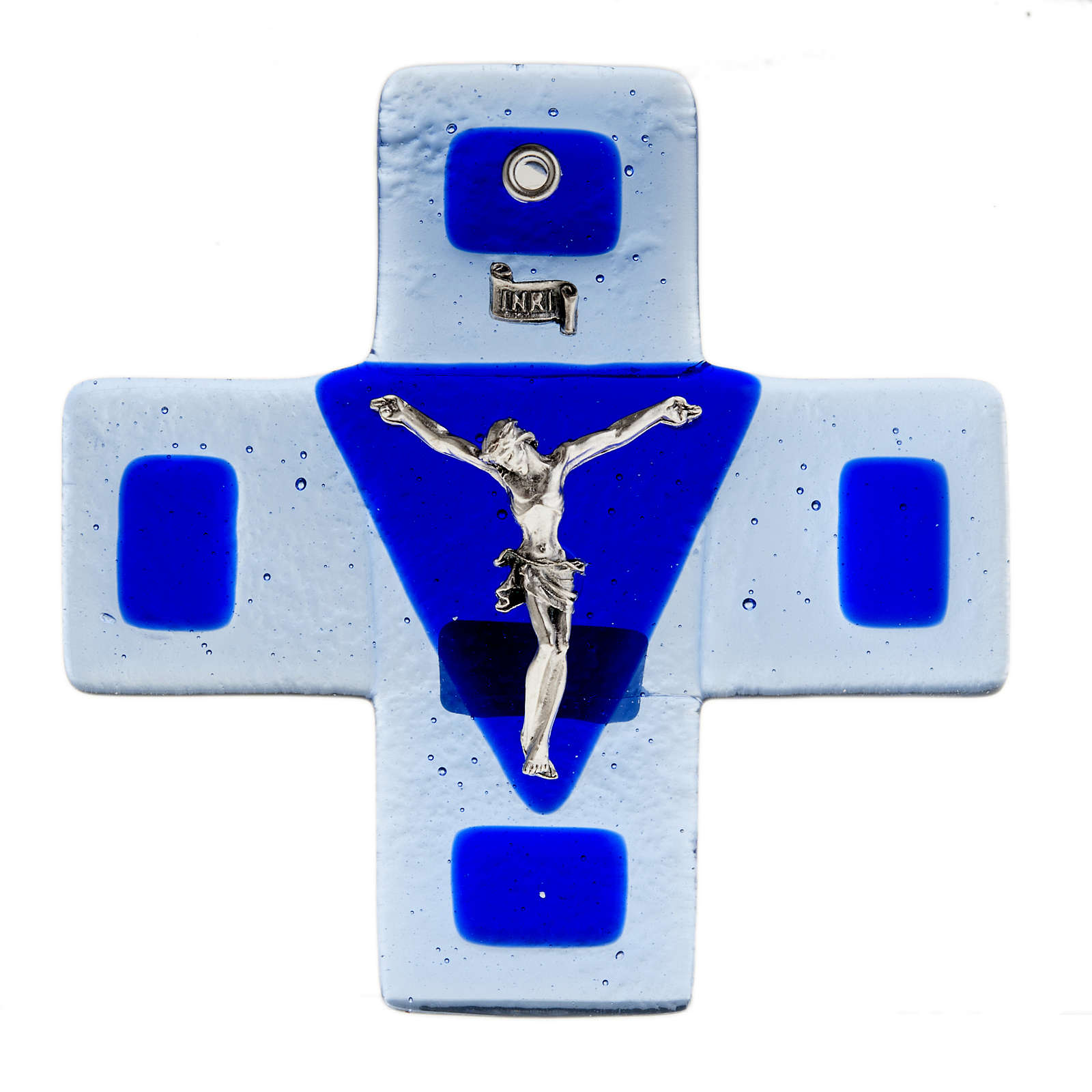 Crucifix in blue glass 12x12cm 4