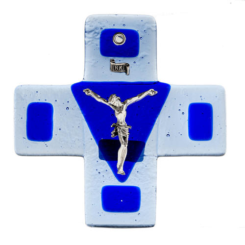 Crucifix in blue glass 12x12cm 1