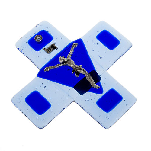 Crucifix in blue glass 12x12cm 2