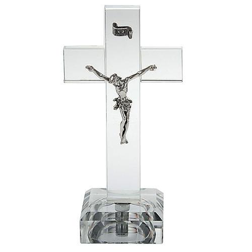 Crucifijo vidrio con luz interna 1