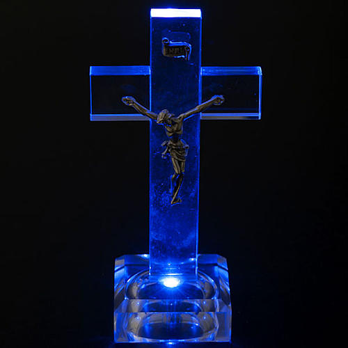 Crucifijo vidrio con luz interna 3