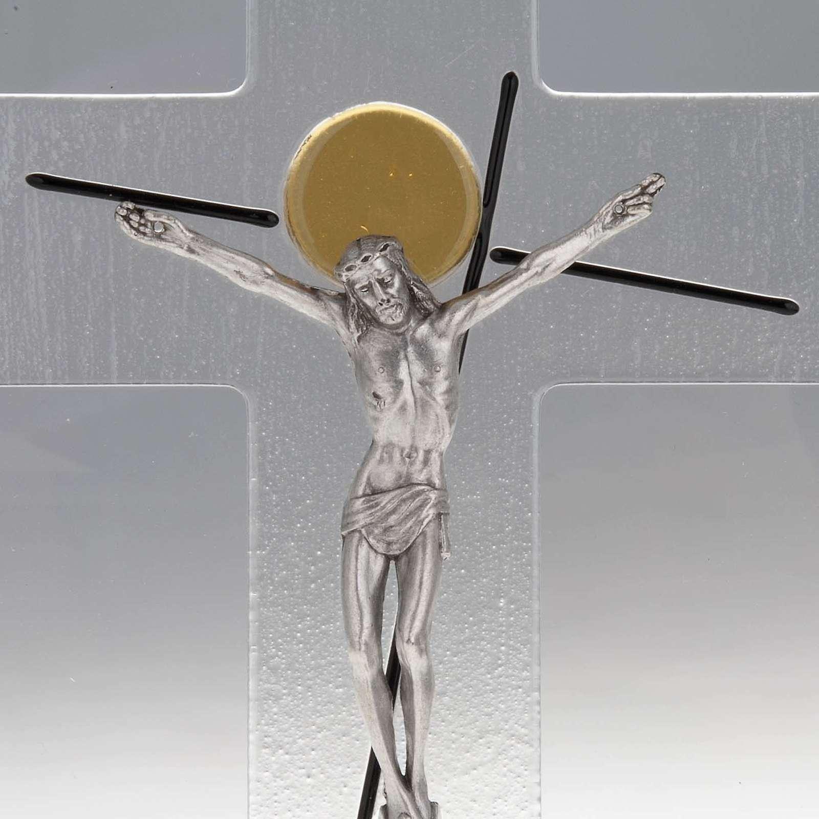 Crocifisso moderno stilizzato vetro trasparente 4