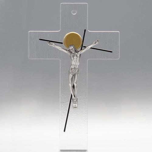Crocifisso moderno stilizzato vetro trasparente 1