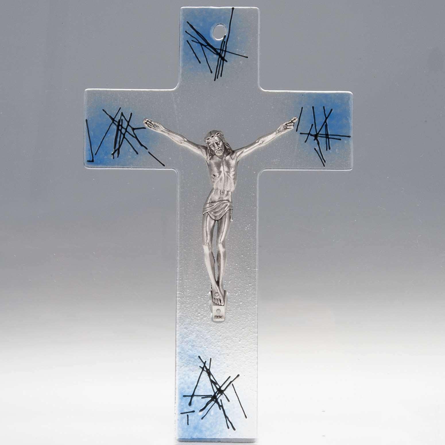 Crocifisso moderno vetro trasparente sfumature azzurre 4