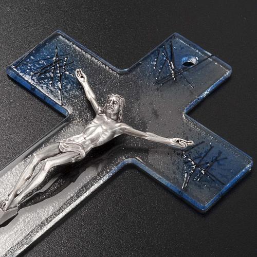 Crocifisso moderno vetro trasparente sfumature azzurre 3