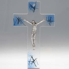 Modern crucifix in transparent glass with blue shades s1