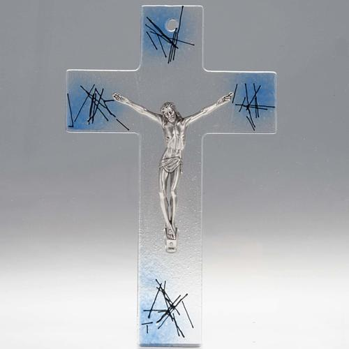 Modern crucifix in transparent glass with blue shades 1