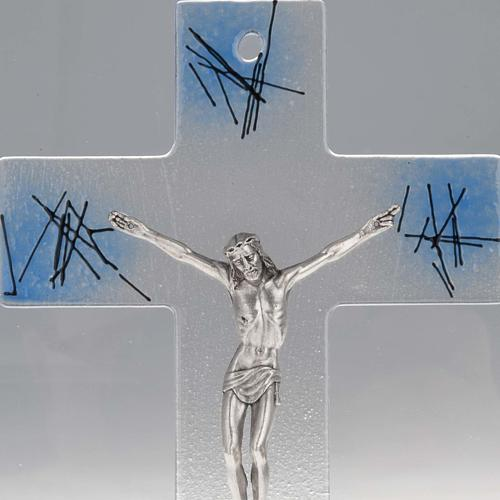 Modern crucifix in transparent glass with blue shades 2
