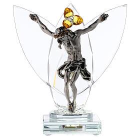 Crucifijo vidrio con lámpara y flor cristal ámbar s1