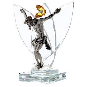 Crucifijo vidrio con lámpara y flor cristal ámbar s3