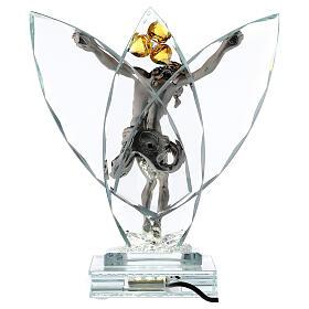 Crucifijo vidrio con lámpara y flor cristal ámbar s5