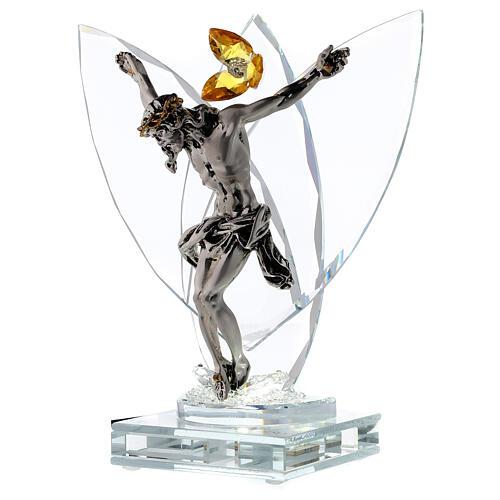 Crucifijo vidrio con lámpara y flor cristal ámbar 3