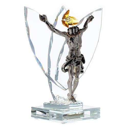 Crucifijo vidrio con lámpara y flor cristal ámbar 4