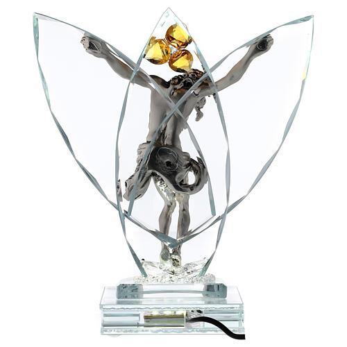 Crucifijo vidrio con lámpara y flor cristal ámbar 5