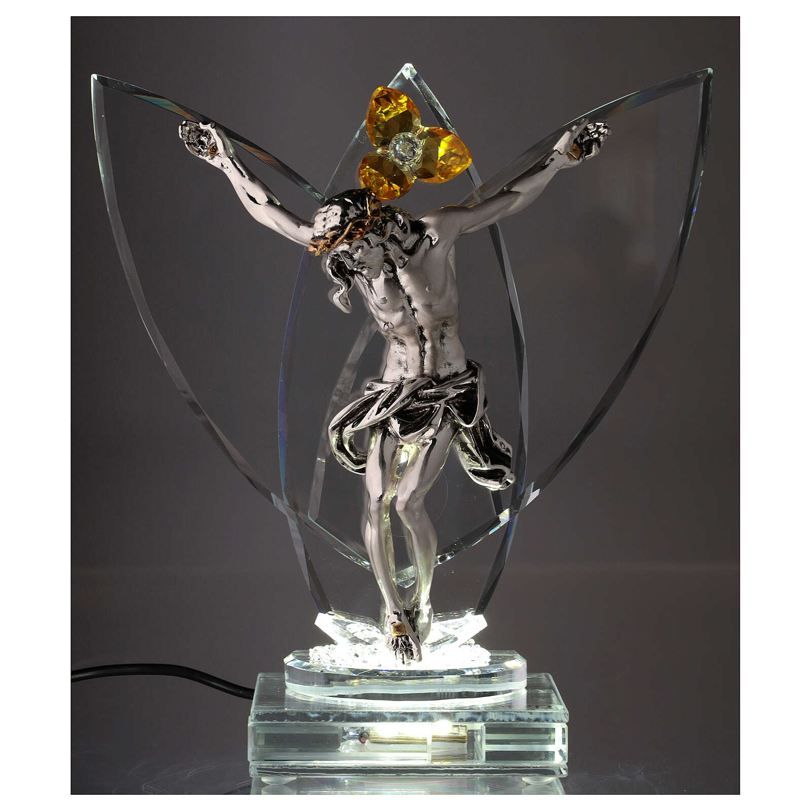 Crucifix with light in glass and metal with amber flower 4